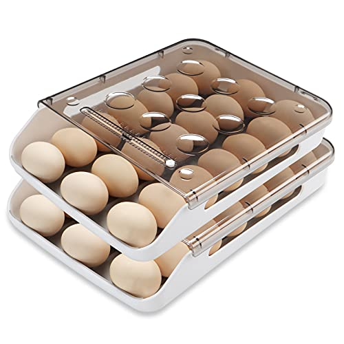Qmpro Egg Holder for Refrigerator,Auto Scrolling and Stackable Antislip Deviled Egg Tray Smart fridge organizer with Lid and Handle,Clear Plastic 21 Eggs