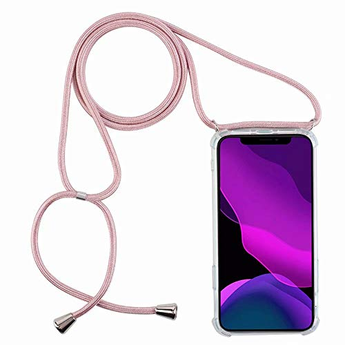 2ndSpring Funda con Cuerda Compatible con LG K11/K10 2018,Colgante Collar Correa de Cuello Cadena Cordón,Rose Gold