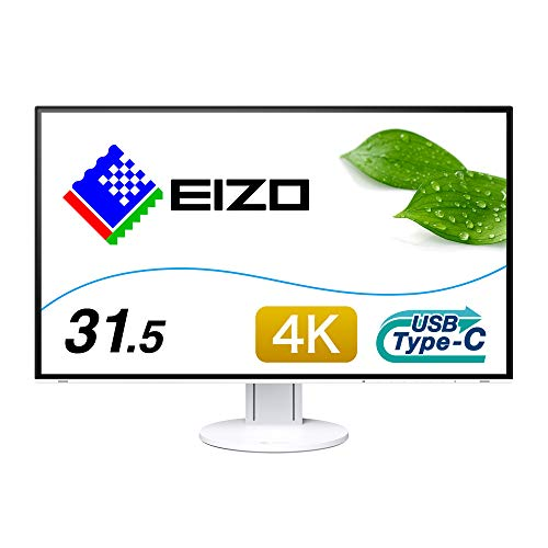 EIZO EV3285-WT 80 cm (31,5 Zoll 4K UHD) Monitor (HDMI, USB 3.1 Typ C, DisplayPort, 5ms Reaktionszeit, Auflösung 3840 x 2160) weiß