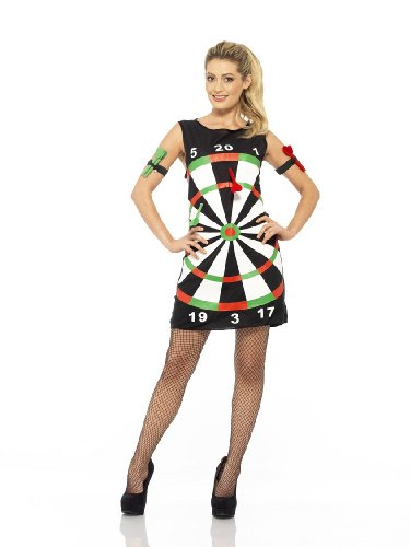 Smiffys Dartkostüm Damen Dartkleid Dart Pfeil Kleid 3-teilig The Power Gr. M