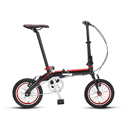 LXJ Bicicleta plegable portátil de la bicicleta de 14 pulgadas para la bicicleta de la ciudad de Freno de 14 pulgadas, con asas ajustables y una silla cómoda negra de una sola velocidad de longitud de