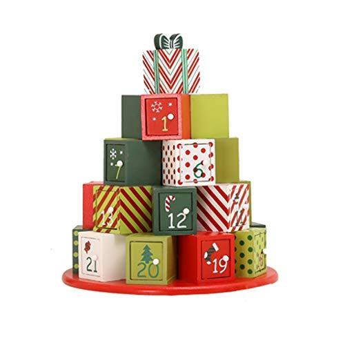 Adventskalenders Kerstkalender Houten Aftelkalender Creatieve Stapelen Geschenkdoos Desktop Decoratie Snoep Opbergdoos Gift