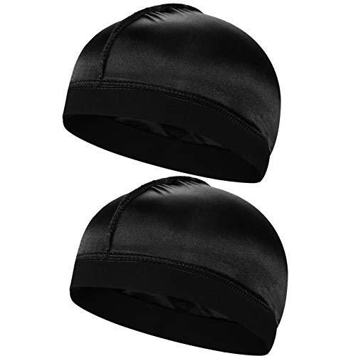 2pcs Silky Stocking Wave Cap, Satin Doo Rags Compression Cap for Men, for 360 540 720 Waves (2pc Black)