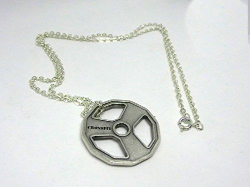 Crossfit Collar de 60cm con colgante de plata con forma de disco, peso olímpico, gimnasio
