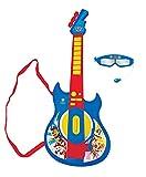 LEXIBOOK Paw Patrol La Patrulla Canina Guitarra electrónica Luminosa, Gafas con micrófono, melodías Incluidas, Enchufe para MP3, Azul/Rojo