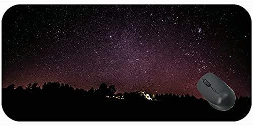 Almohadilla de ratón extra grande para juegos, estrellas de la noche de cielo estrellado de la noche de la noche con el borde cosido
