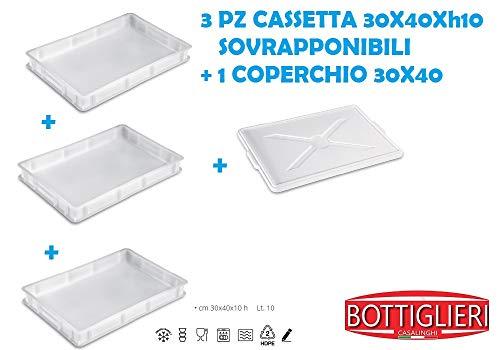 BOTTIGLIERI CASALINGHI Tris Cassetta Portaimpasto Service 30x40xh10 cm, Sovrapponibili con 1 Coperchio