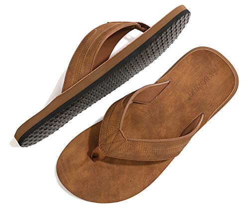 ARRIGO BELLO Chanclas Hombre Flip Flops Cuero Sandalias Verano Antideslizante Piscina Playa Interior Talla 41-46 (Amarillo, Numeric_43)