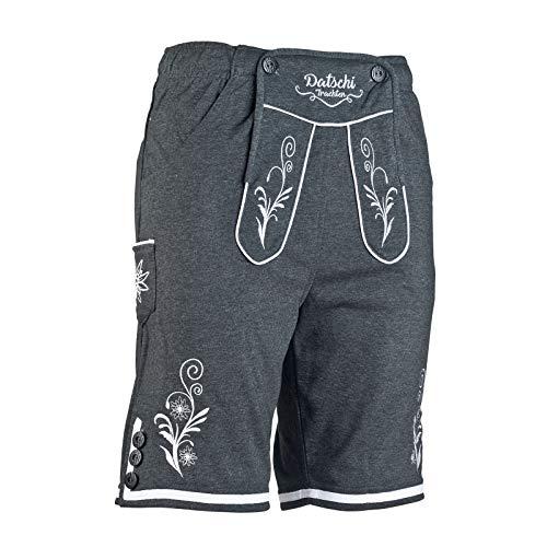 Kurze Lederhosen Jogginghose Bestickt, 4X große Hosentaschen - flauschig weich - Herren Trachten-Hose für Oktoberfest oder Alltag - Bayrische Hose in Lederhosenoptik (XL, Dunkelgrau)