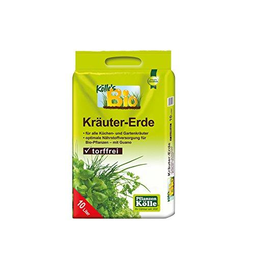 Bio Kräutererde torffrei 10 Liter – Kokosmark, Holzfaser, Kompost – Spezialerde ohne Torf für alle Kräuter – Bio-Qualität – biologisches Naturprodukt – Gärtnerqualität von Kölle's Bio 10 Liter