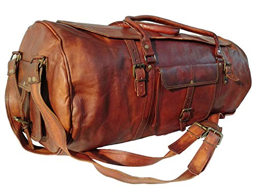 Dhk Devil Hunter Killer 28 Zoll groß Leder Reisetasche - Carry On Vintage Umhängetasche Seesack Weekender Tasche, 28 inch, Braun