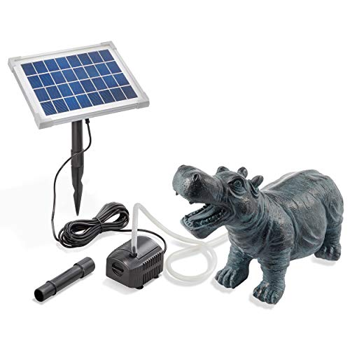 Solarbetriebener Wasserspeier Nilpferd - inkl. Solar Teichpumpe 5 Watt 250 l/h - Maße ca. 265 x 120 x 200 mm - Wasserspiel für Gartenteich Teichfigur Gartenbrunnen, esotec 101658