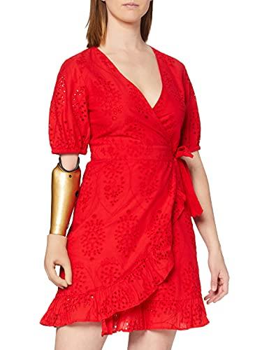 Marca Amazon - find. Vestido Corto Cruzado de Algodón Mujer, Rojo (Red), 42, Label: L