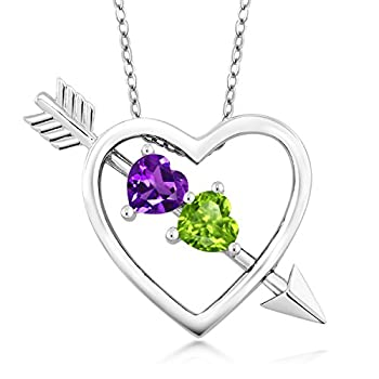 Gem Stone King Purple Amethyst and Green Peridot 925 Sterling Silver Heart & Arrow Women s Pendant Necklace 0.90 Ct with 18 Inch Silver Chain