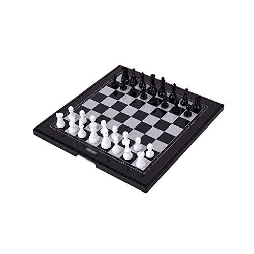 CCAN Ajedrez Juego de ajedrez magnético de Viaje con Tablero de ajedrez Plegable Juguetes educativos para niños y Adultos, Tablero de ajedrez con Caja de Almacenamiento Juego de ajedrez, Negro