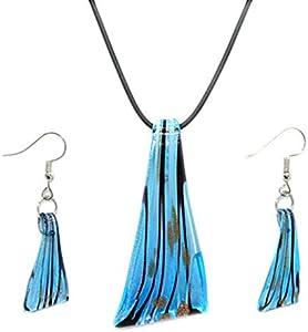Happyyami Collar Y Pendientes Cristal de Murano Espada Ancha Azul Joyas de Colores Vintage Colgante Collar Regalo para Niñas Mujeres