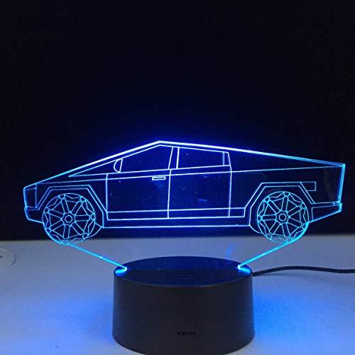 Diseño de coche eléctrico ilusión 3d luz de noche Led para dormitorio infantil luz nocturna decorativa regalo único para habitación de niños lámpara de escritorio