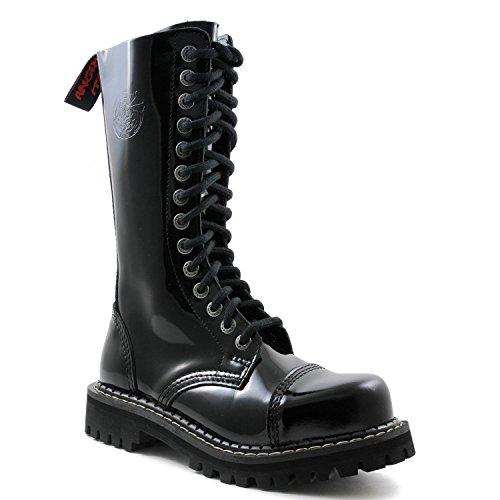 ANGRY ITCH - 14-Loch Gothic Punk Army Ranger Lackleder Schwarz Armee Stiefel mit RV & Stahlkappe - Größen 36-48 - Made in EU!, EU-Größe:EU-45