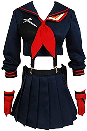 YBINGA Disfraz de cosplay para mujer, uniforme, uniforme escolar, anime, marinero, juego completo de accesorios para cosplay (color negro, tamaño: L)