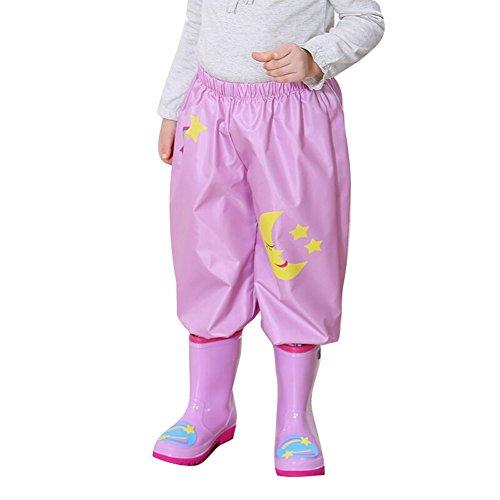 Gagacity - Chaqueta impermeable - para bebé niña Pioggia Pantaloni/Luna rosa 105/115 cm(Medium)