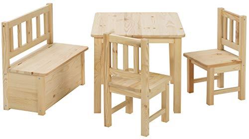 BOMI Kindertisch mit 2 Stühle und Spielzeugkiste   Kindertruhenbank aus Kiefer Massiv Holz für Kinder   Kindersitzgruppe unbehandelt Mädchen und Jungen