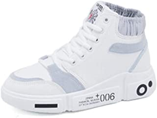 HXSD High-top Casual Shoes, Autumn and Winter Models White Shoes, Wild Flat-Bottom Sports Shoes (Color : White, Size : 37EU)
