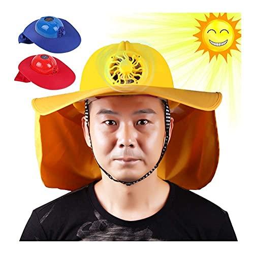 SONGYU Solarventilatorhelm mit LED-Lichtschutzprojekt Projektarbeit Außeneinsatz Kompression Erfrischender Farbton Blauhelm Helm Schutzhelm Blau (Farbe: F-1)