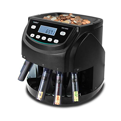 Kolibri KCS-2000 Professional USD Coin Counter, Sorter and Wrapper/Roller, 220 Coins/min, LED Display with Full Report, Batch Feature – Included 5 Coin Bins & Tubes