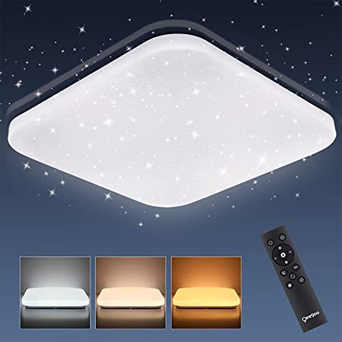 Oeegoo LED Deckenlampe Dimmbar, 24W 2050LM LED Deckenleuchte Dimmbar mit Fernbedienung, Flimmerfreie Led Lampe Schlafzimmerlampe, Wohnzimmerlampe, Kinderzimmerlampe Sternenhimmel, 2700K-6500K