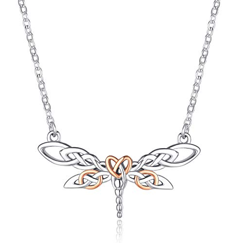 KINGWHYTE Dragonfly Necklace for Women Sterling Silver Irish Celtic Knot Pendant Necklace Dragonfly Jewelry Gifts