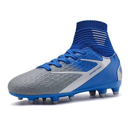 DREAM PAIRS Boys Girls HZ19002K Blue White Grey Soccer Football Cleats Shoes Size 12 M US Little Kid