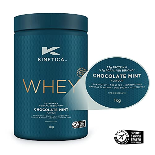 Kinetica Whey Protein Powder, 33 Servings, Chocolate Mint, 1kg. Low Carb, Grass Fed Whey. High Protein Source for Lean Muscle Growth