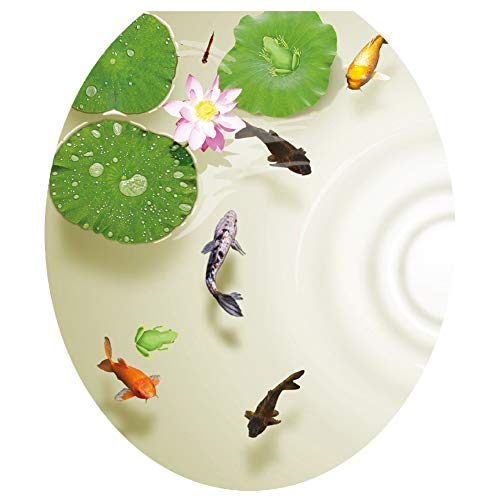 always88 3D Lotus Fish Water Bathroom Toilet Seat Lid Cover Decals Stickers Pond Frog Goldfish PVC Sticker Removable Self-Adhesive Restroom Decor Art Decoration 12.8X14.8inch (A)