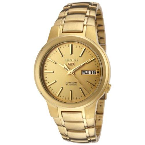 Seiko Herrenuhr SNKA10 Seiko 5 Automatikuhr, goldenes Zifferblatt, Goldfarbene Edelstahl-Uhr