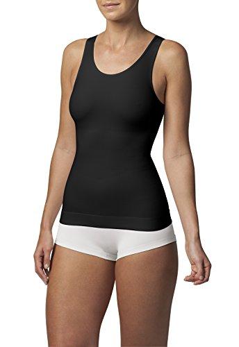 SLEEX Shapewear Figurformendes Damen Unterhemd (mit hoeherem Ruecken), Schwarz, Groesse L/XL - Shapewear Top