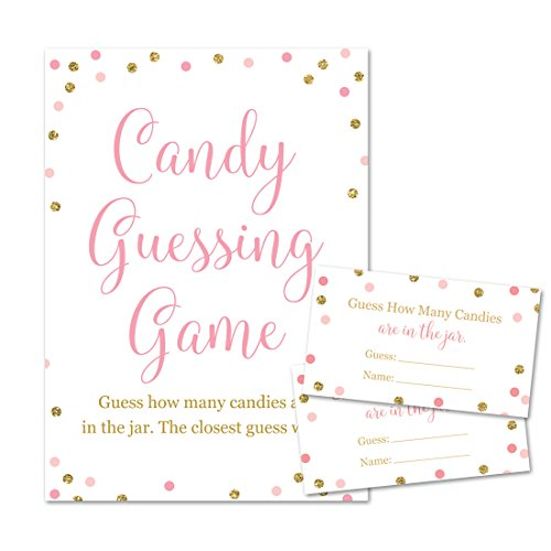 Baby Shower Candy Guessing Game, How Many Candies, Faux Gold Glitter and Pink Dots (24 Cards and 1 Sign)