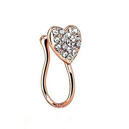 Anillo de nariz para mujer, diseño de corazón con brillantes, sin perforación, duradero y útil