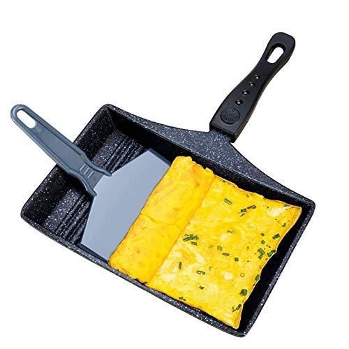 Friture Poêle à oeufs, à fond plat antiadhésif rôtissoire épais Egg Omelette Pan Frying Pan Omelette Appareil de cuisine Outils de cuisine des ménages lucar