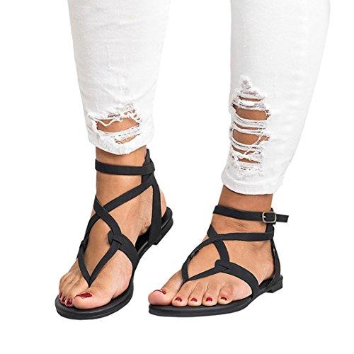 Gyoume Women Shoes Ankle Roman Sandals ShoesFashion Cross Strap Flat Sandals (US:6.5, Black)