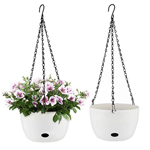 T4U Self Watering Hanging Planter Pot with Watering Hole 24CM White Set of 2 - Round Plastic Hanging Basket Flower Pot Plant Holder for Outdoor Garden House Porch Decor Wedding