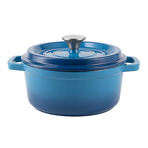 Vintage Cuisine - Pentola in ghisa smaltata con coperchio, 2,2 l, colore: Blu ombre
