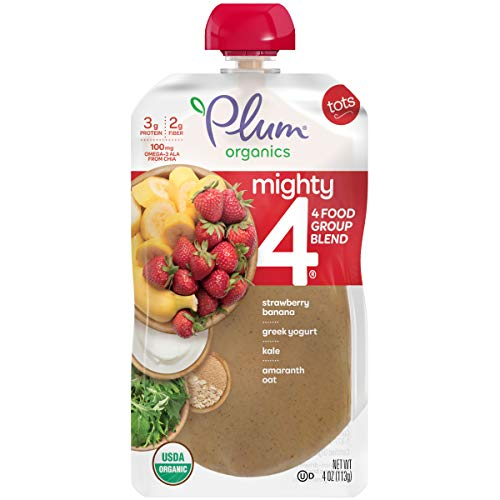 Plum Organics Mighty 4, Organic Toddler Food, Strawberry, Banana, Greek Yogurt, Kale, Amaranth and Oat, 4 Ounce (Pack of 12) (Packaging May Vary)