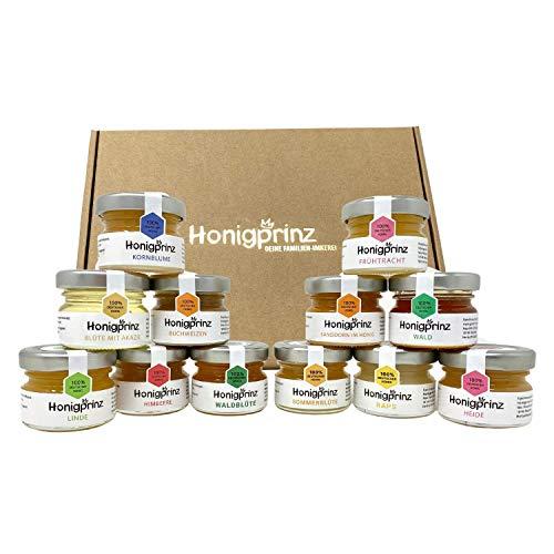 Honig Geschenk Set - 12 verschiedene Sorten - 100% Deutscher Honig [12 x 28 Gramm] Probier Set Honigprinz Familien-Imkerei