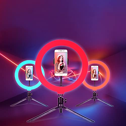 Aro de Luz con Trípode, LED Anillo de luz 10' con Soportes para Teléfonos Móviles,Ring Light 20 RGB Colores 9 Niveles de Brillo y 3 Modos de Luz ,para Selfie, Vlog, TikTok, Youtube, Live,Makeup