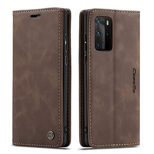 QLTYPRI Hülle für Huawei P40 Pro, Vintage Dünne Handyhülle mit Kartenfach Geldtasche Standfunktion PU Ledertasche TPU Bumper Flip Schutzhülle Kompatibel mit Huawei P40 Pro - Kaffee Braun