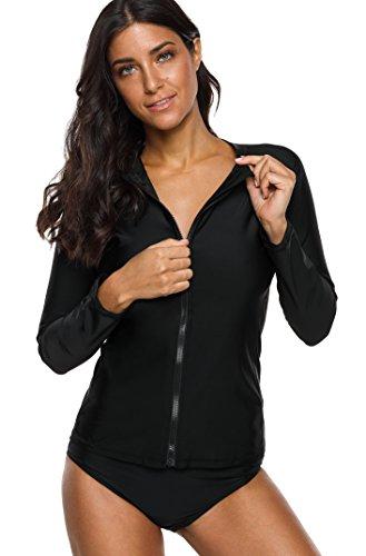 Charmo Damen Rash Guard UV-Schutz (UPF 50+) mit Reißverschluss Rash Vest Sonnen Schutz Solid Schwarz M