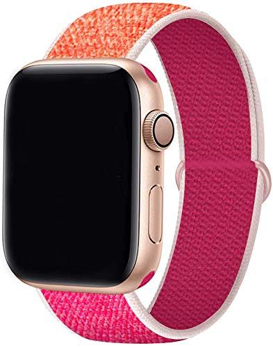 Tervoka Cinturino Compatibile con Apple Watch Cinturino 44mm 42mm, Sport Intrecciato Loop Tessuto Regolabile Ricambio Cinturino per iWatch Series 6 5 4 3 2 1 SE, Pomegranate