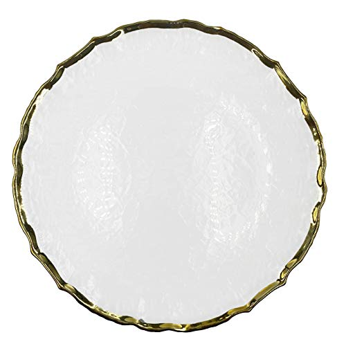 Urquid Linen, Ribbon Glass 13' Charger Plate, Set Of 4, Use for Elegant Wedding Décor, Luxe Dinner Parties and Special Events, and Any Elegant Occassion (Gold)