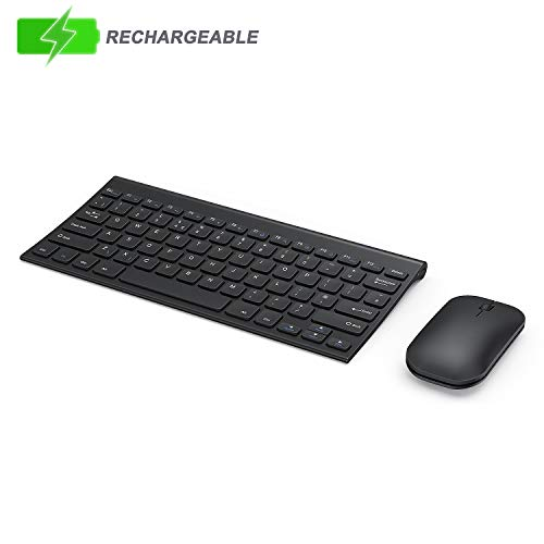 Seenda Wireless Keyboard and Mouse, Small Low Profile Rechargeable Metal Keyboard and Mouse Set for Windows Devices, Black