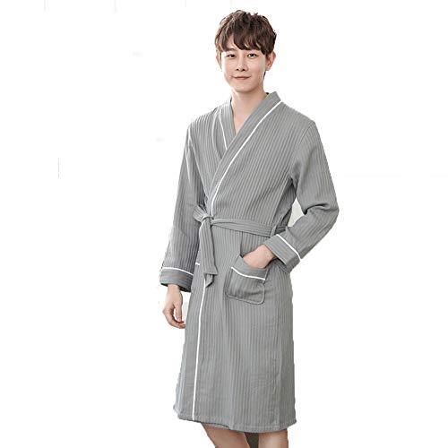 Heren badjas katoen hotel lente en herfst zomer lange badjas studenten dunne pyjama,M